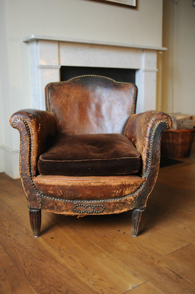 Vintage Club Leather Armchair Aged Leather With Stud Work