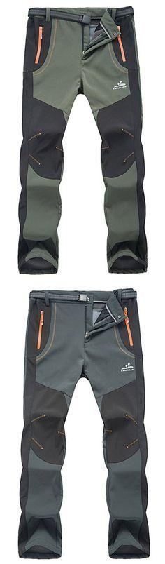 Mens Outdoor Sport Pants Elastic Waist Soft Shell Warm Fleece Lining Waterproof Quick-Dry Trouser