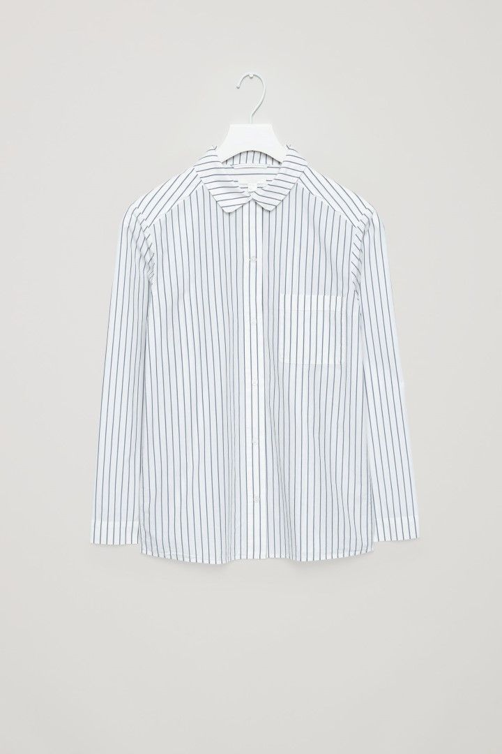 COS image 2 of Striped pyjama shirt in White