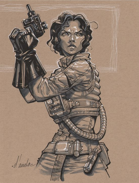 Star Wars - Princess Leia wearing X-Wing flight suit by Carlos D'Anda *. Character Sketch / Drawing Inspiration