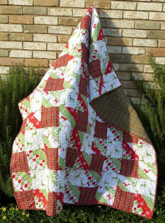 Rustic Plaid Christmas Quilt Handmade