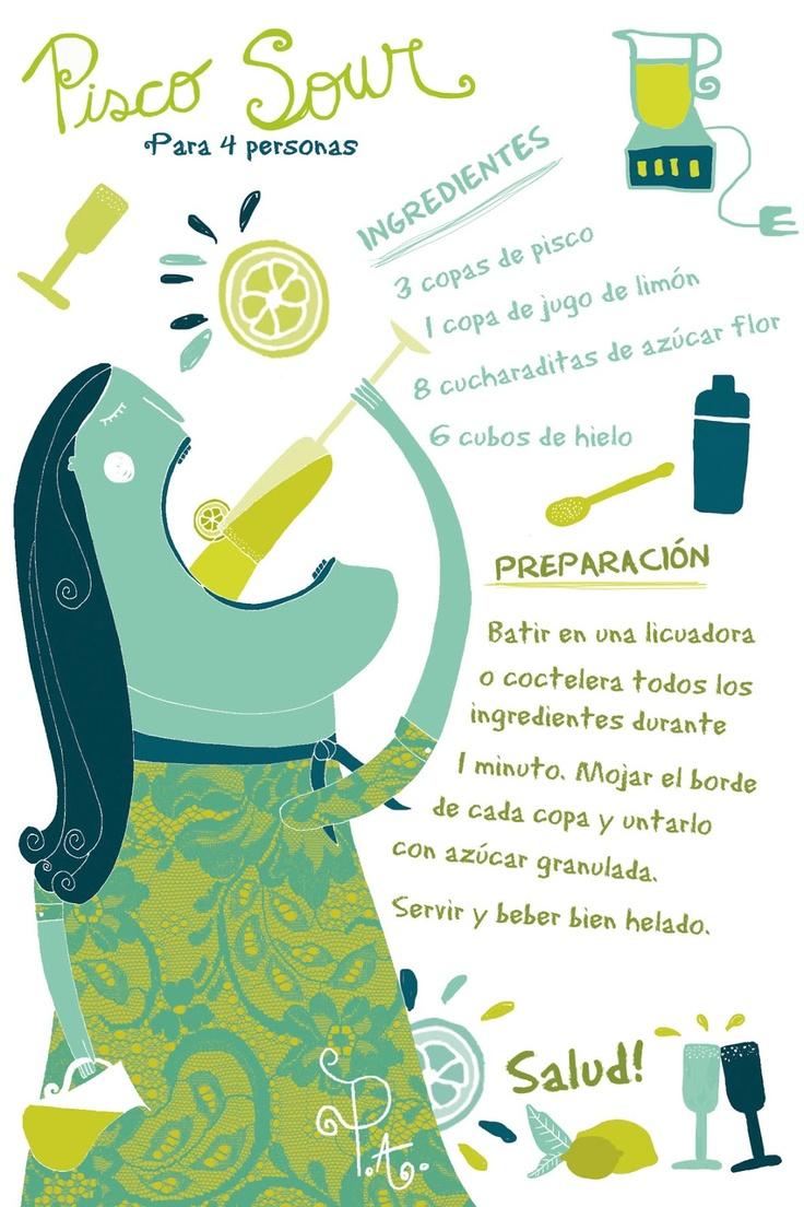 Pisco sour - Ilustrada por Pati Aguilera