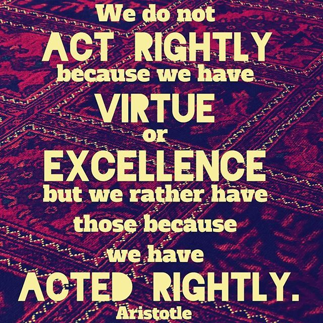 """""""Excellence is an art won by training and habituation. We do not act rightly because we have virtue or excellence, but we rather have those because we have acted rightly. We are what we repeatedly do. Excellence, then, is not an act but a habit.""""  Aristotle  #philosophy #Aristotle #action #habit #training #virtue #actions #success #excellence #acted #virtue #excellence #greatness #great #habits #behaviour #vehemenceandemergence #voiceofthevoiceless #quotes #quote #philosopher #train"""