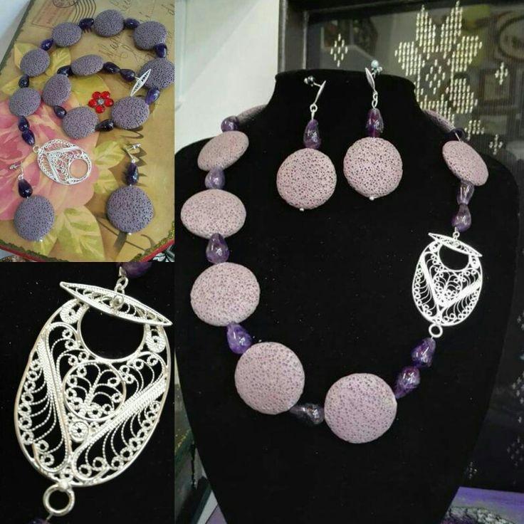 Set,Vulkanska lava i srebrni filligran,ručni rad Necklace&earrings.Volcanic rock& fine silver filigree,handmade