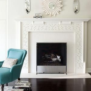 Amy Neunsinger - living rooms - small, shell, white, sunburst, mirror, white, fretwork, fireplace, mirrored, sconces, turquoise, blue, accent chair, mirror above fireplace, mirrors above fireplace, mirror over fireplace, mirrors over fireplace, fireplace mirror, fireplace mirrors,
