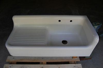 via BKLYN contessa :: Antique Vintage Old Cast Iron Porcelain Corner Farm Sink w Apron Dated 1931   eBay