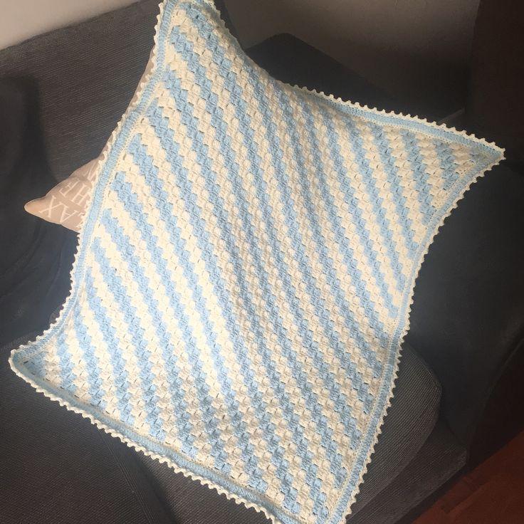 Blue Amp Cream Corner To Corner Baby Blanket Amp Picot Edging