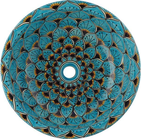 Superior Peacock Turquoise Mexican Talavera Ceramic Round Drop In Bathroom Sink