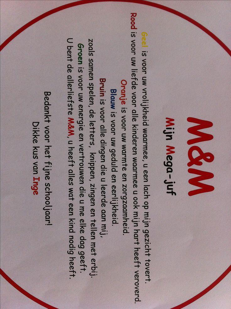 M&m's Cadeau juf, mijn Mega Juf. Pot met m&m's met dit gedichtje erop.