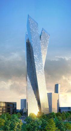 Osmose Tower, La Défense, Paris by Jean-Michel Wilmotte Architect :: 75 floors, height 284m