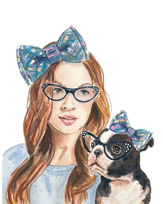 Watercolor Print Portrait Painting Girl and her by WaterInMyPaint