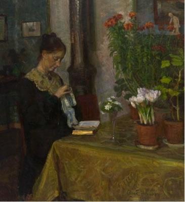 August Eiebakke (1867-1938): Kvinne med håndarbeide