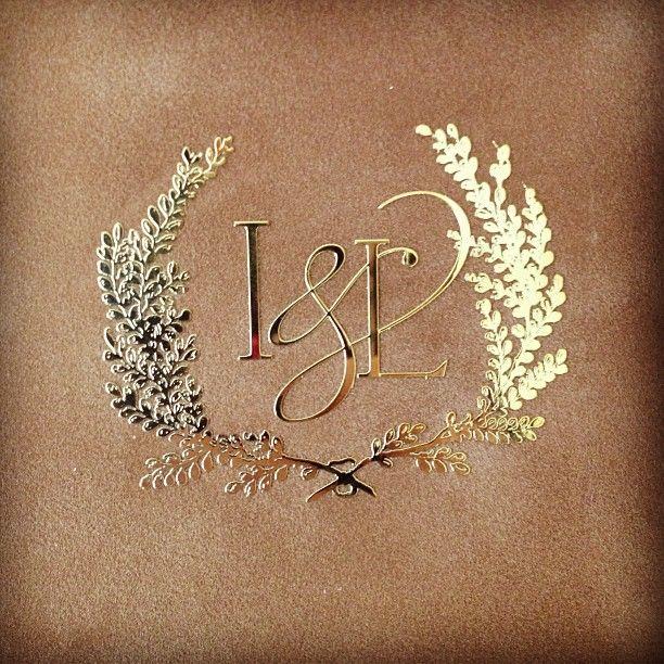 Gold monogram on velvet for a custom wedding invitation