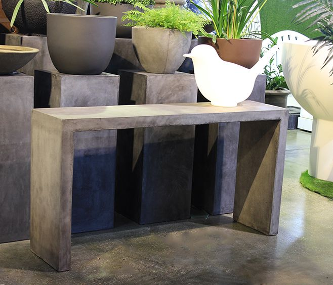 the arizona outdoor console table is made from a strong and lightweight material grc a