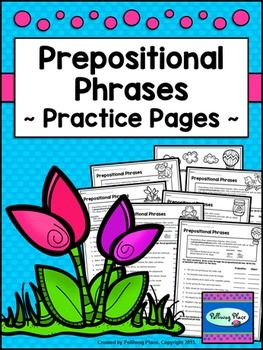 This Prepositional Phrases Grammar Practice Set contains 6 printable grammar practice pages focusing on identifying prepositional phrases. Students are presented with sentences containing prepositional phrases. They are asked to identify the prepositional phrase by locating the preposition at the beginning and the object at the end of the phrase.