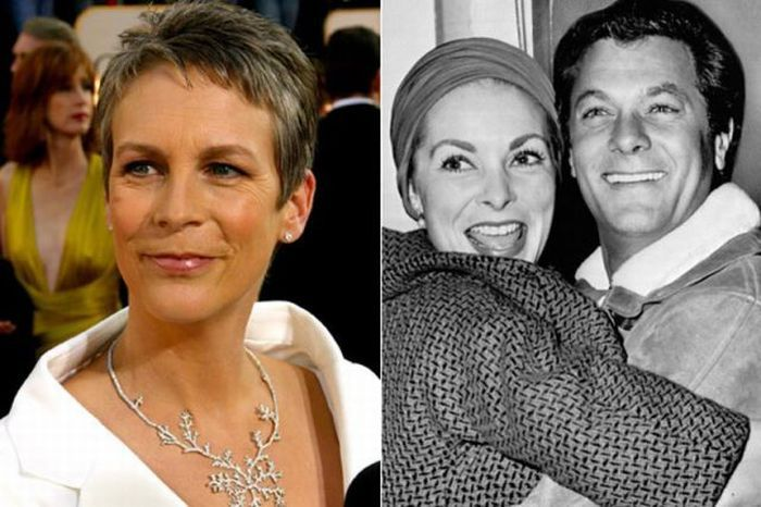 Jamie Lee Curtis with both of her dead parents.. Janet Leigh and Tony Curtis