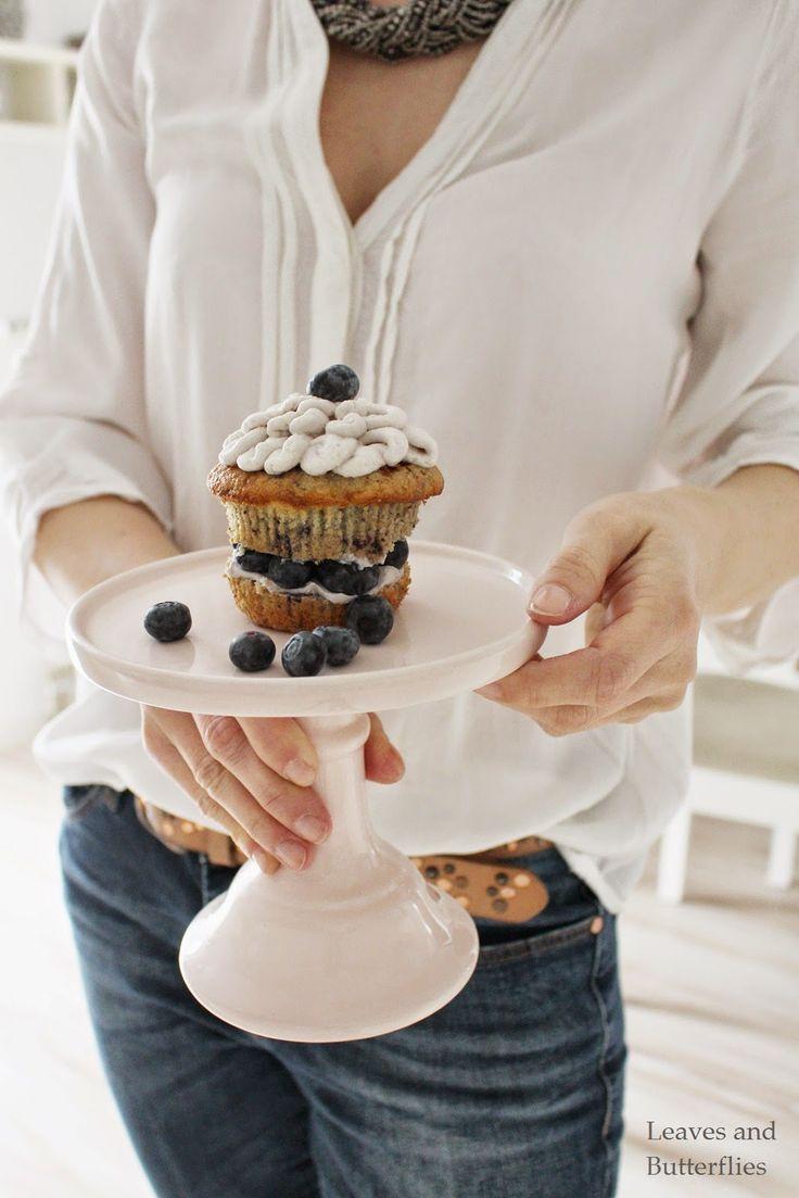 blueberry cupcakes with mascarpone cream.