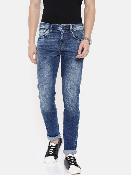 c29774f9 Wrangler Men Blue Tapered Bostin Fit Mid-Rise Clean Look Stretchable Jeans  - | 1752