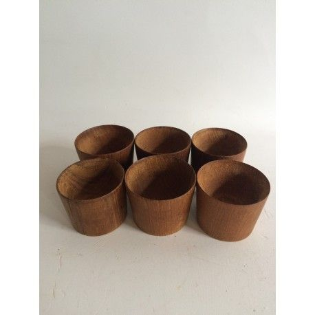 6 egg cups in teak. Danish design. Midcentury
