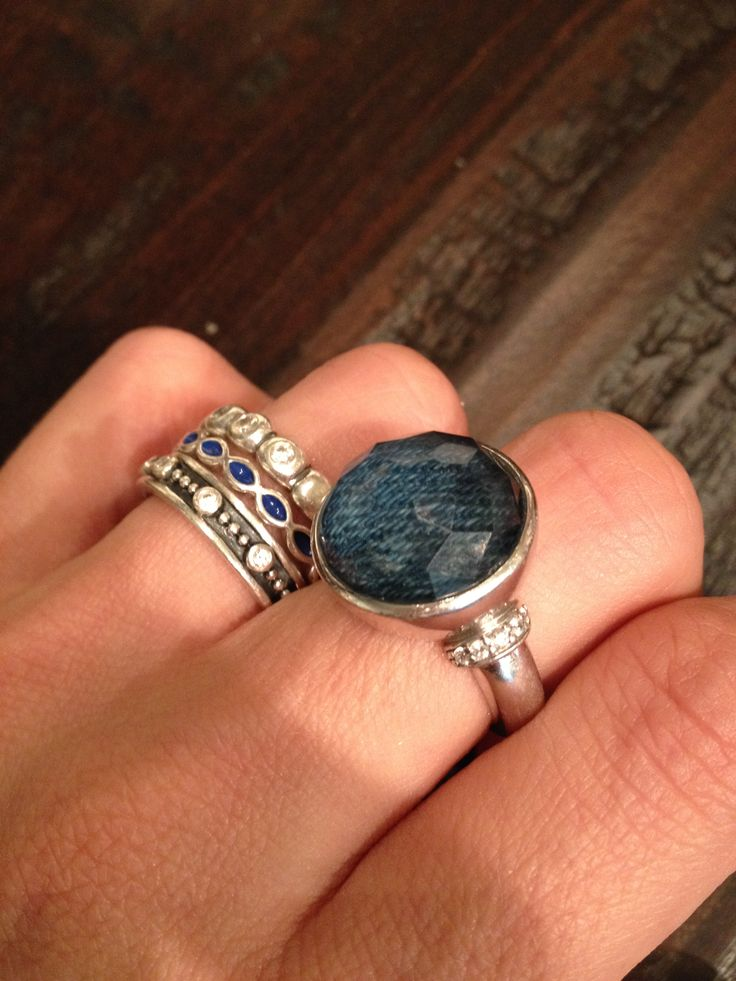 Pandora Stacking rings and A large Cubic with Denim Tisento Jewelry Ring