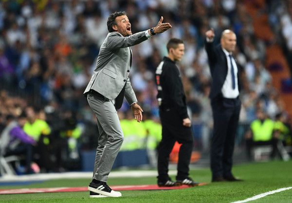 Luis Enrique manager of Barcelona reacts during the La Liga match between Real Madrid CF and FC Barcelona at Estadio Bernabeu on April 23, 2017 in Madrid, Spain.