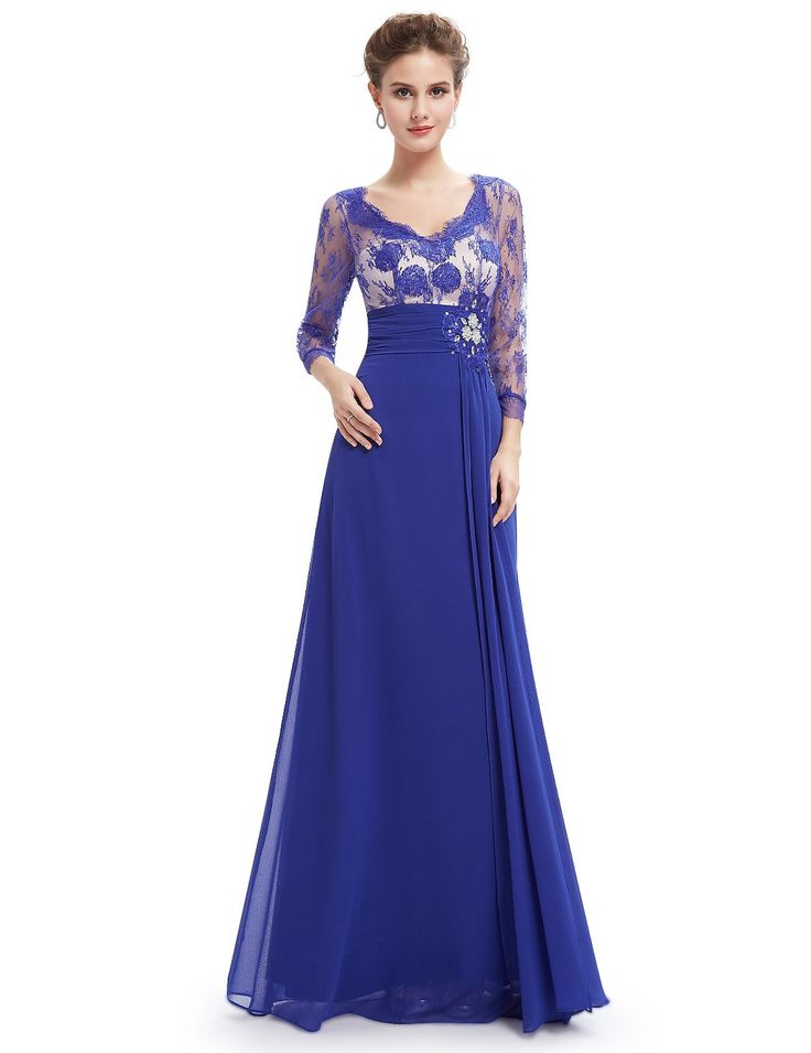 Long Sleeve Lace Floor Length Evening Gown