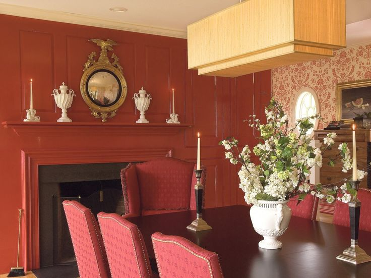 The Dining Room Centers House Where Mantel Was Painted A Fiery Red Upholstered Chairs And Striking Overhead Chandelier Were Custom Made