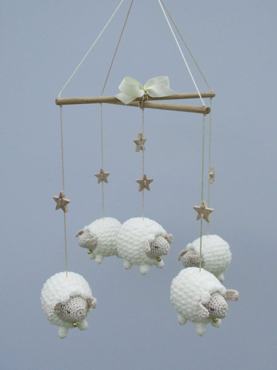 Baby Mobile, Nursery Mobile, Sheep Mobile, Lamb Mobile, Crib Mobile, Crochet Sheep, Baby Gift, Childs Room Decor, Animal Mobile, Natural