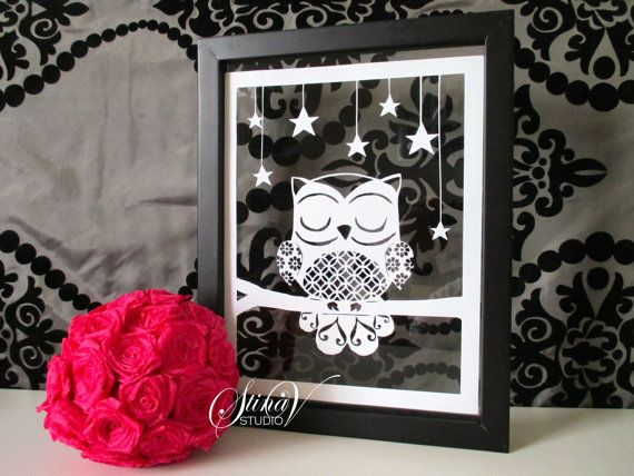 Sleeping Owl at Night with Stars Handmade Original Paper Cut by StinaVStudio