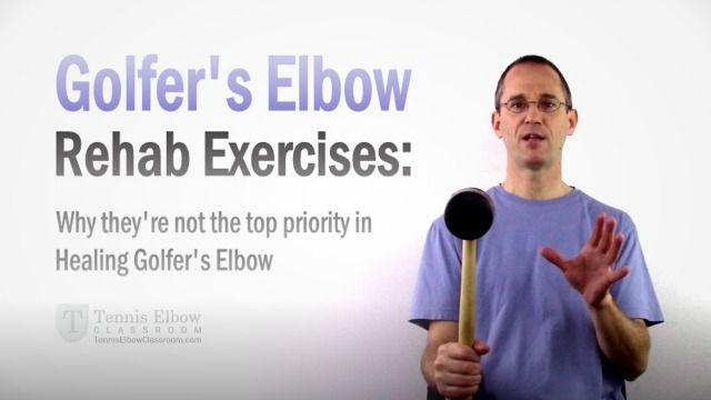 """When it comes to treating an injury like Golfer's Elbow, (or Tennis Elbow, for that matter) one of the first things we usually hear is: """"Better do some exercises for it!"""" – But, are rehab exercises really a top priority when it comes to the tendon healing process? (And should you actually start doing them right away?) - http://tenniselbowclassroom.com/golfers-elbow-exercises/golfers-elbow-exercises-not-healing-priority/ - #GolfersElbow"""