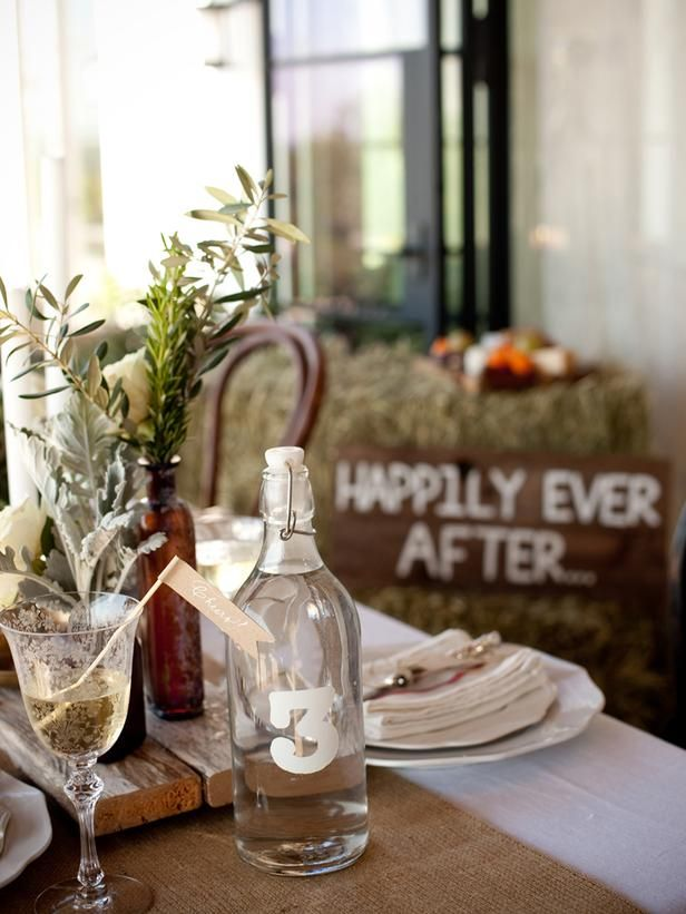 27 best rustic wedding decorations images on pinterest decorating diy network has instructions on how to spray paint numbers or letters onto clear glass bottles we used them to mark table numbers at a wedding junglespirit Gallery