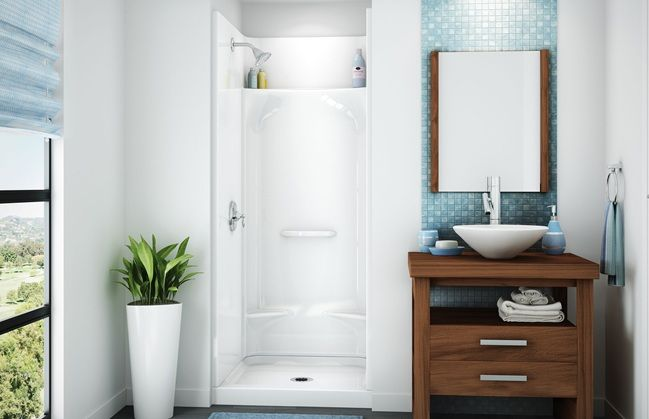 Would be OK with using an acrylic shower stall kit if we can find a way to make it look halfway decent.