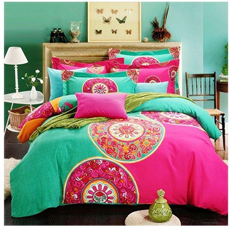 Boho Duvet Cover Sheet Pillowcases 100% Cotton Queen Bohemian Soft Set of 4 Bed #FADFAY