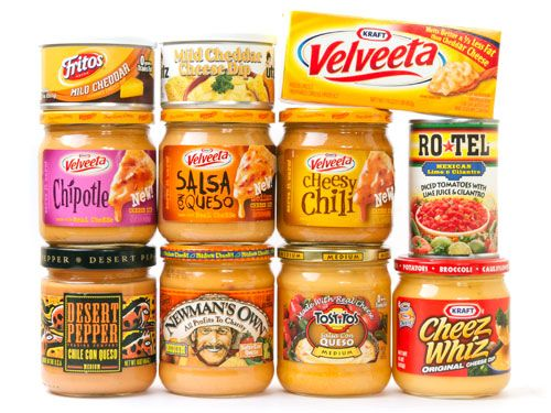 J. Kenji López-Alt     TASTE TESTS »  We taste the leading brands to find the distinct differences and rate them with tasting scores.  Taste Test: Salsa Con Queso and Cheese Sauce   Serious Eats                                               The Winners!  Salsa Con Queso: Ro*Tel and Block Velveeta                                                       Cheese Sauce: Utz Mild Cheddar Cheese Dip