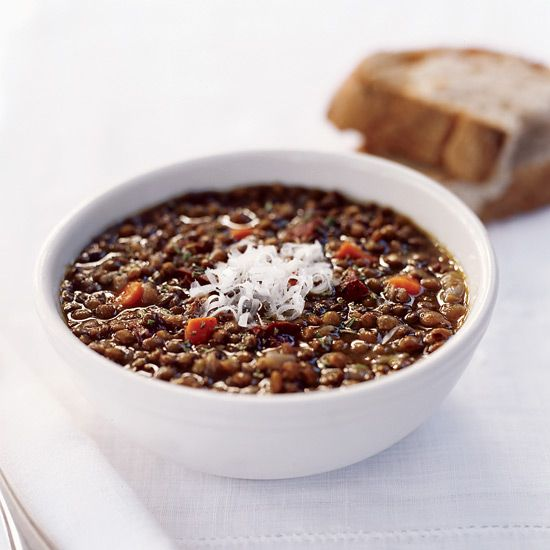 Lentil and Garlic-Sausage Soup // More Soup Recipes and Tips: http://www.foodandwine.com/soup-recipes #foodandwine