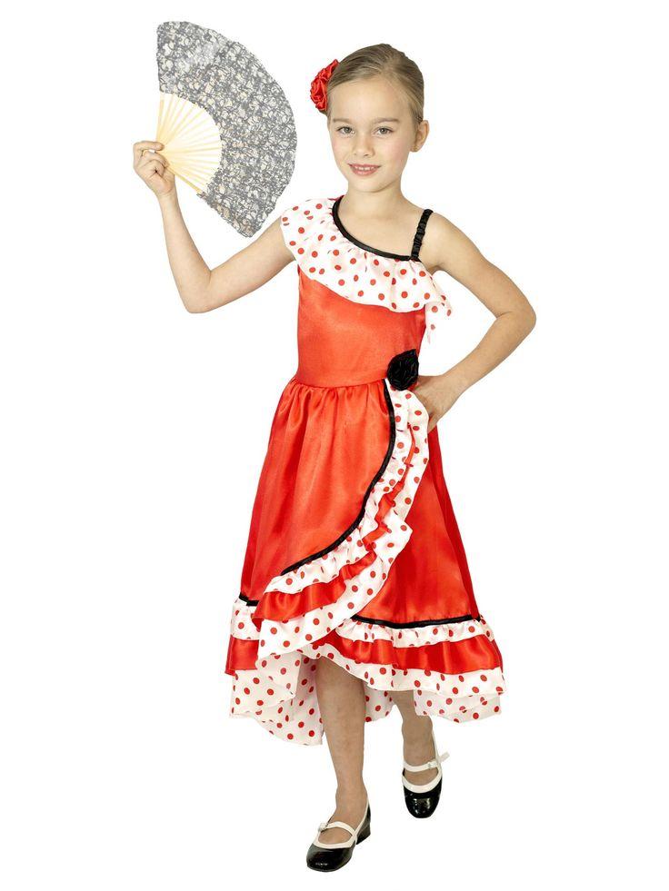 Spaanse danseres kostuum voor meisjes: Dit Spaanse danseressen kostuum voor meisjes bestaat uit een jurk (waaier, haarstrik en schoenen niet inbegrepen). De flamenco jurk is van een rode satijnachtige stof en heeft witte assymetrische...