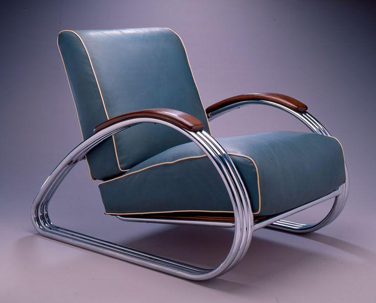 "cgmfindings: Art Deco Armchair1934 Karl Emanuel Martin ""Kem"" WeberChrome-plated steel and Naugahyde upholstery"
