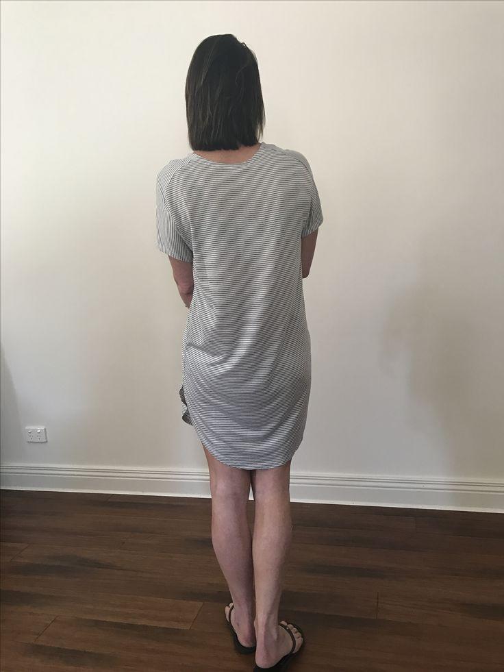 Shift Dress in grey stripe