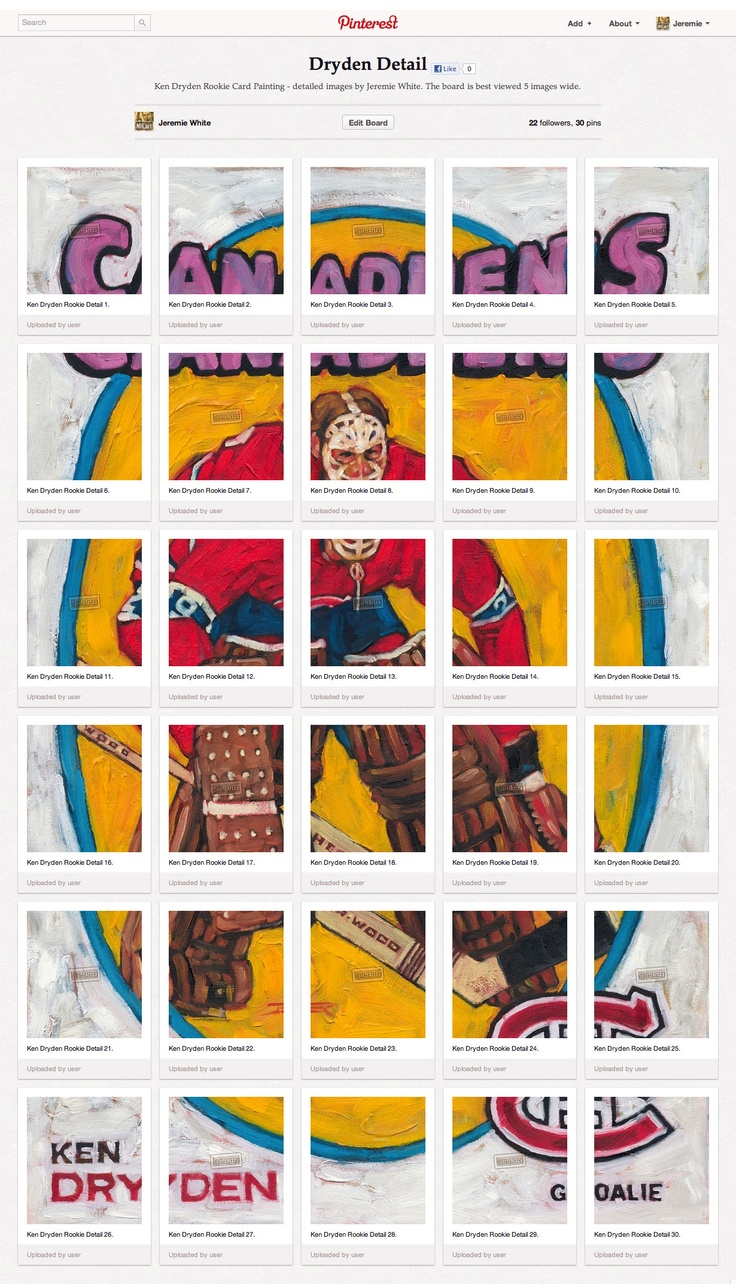 Check out my board of detailed images by Jeremie White - Ken Dryden Rookie Card Painting. The board is best viewed 5 images wide. http://pinterest.com/sportsart/dryden-detail/
