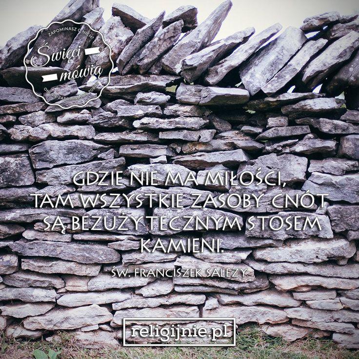 """""""Gdzie nie ma Miłości, tam wszystkie zasoby cnót są bezużytecznym stosem kamieni."""" (Św. Franciszek Salezy)"""