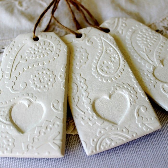 Paisley Love (3)- Heart Embossed Clay Gift Tags/Decorations - Ivory