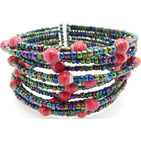 Beaded cuff bracelet - hot pink