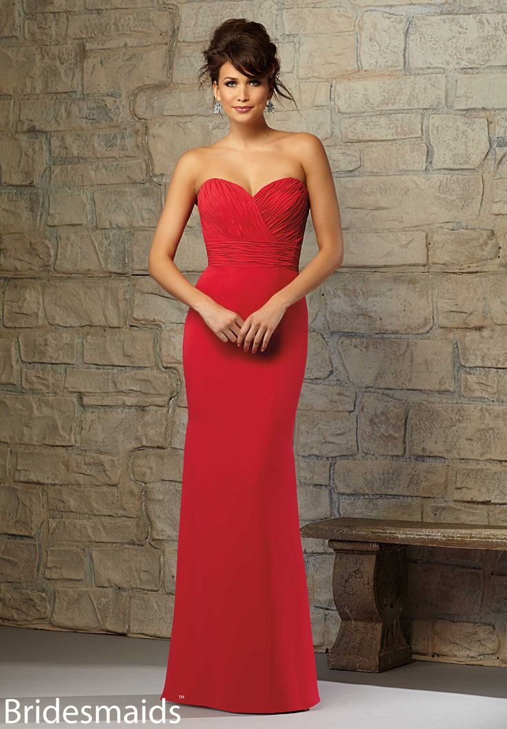 red fitted bridesmaid dresses