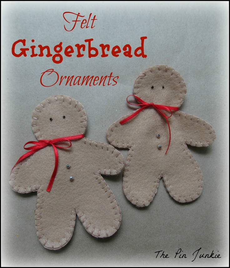 Gingerbread felt Christmas ornaments with pattern
