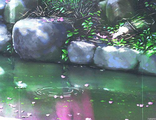 gentle rain on a pond