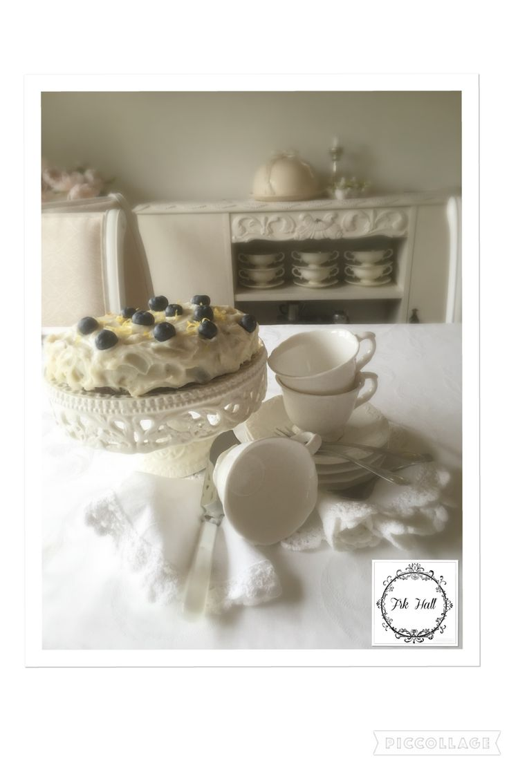 beautiful cake with blueberrys and lemon. shabby chic style