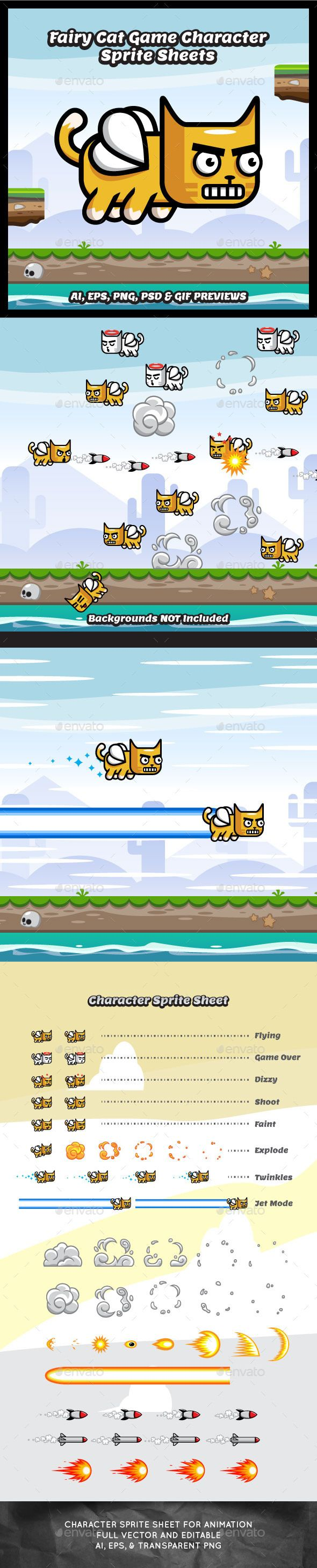 Flappy Fairy Cat Game Character Sprite Sheets - Sprites Game Assets