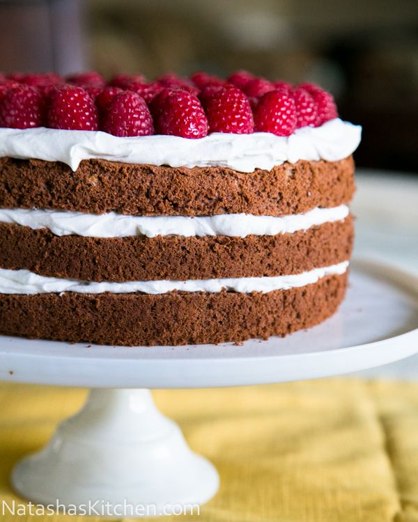 Triple Layer Chocolate Cake with an easy whipped frosting. @NatashasKitchen