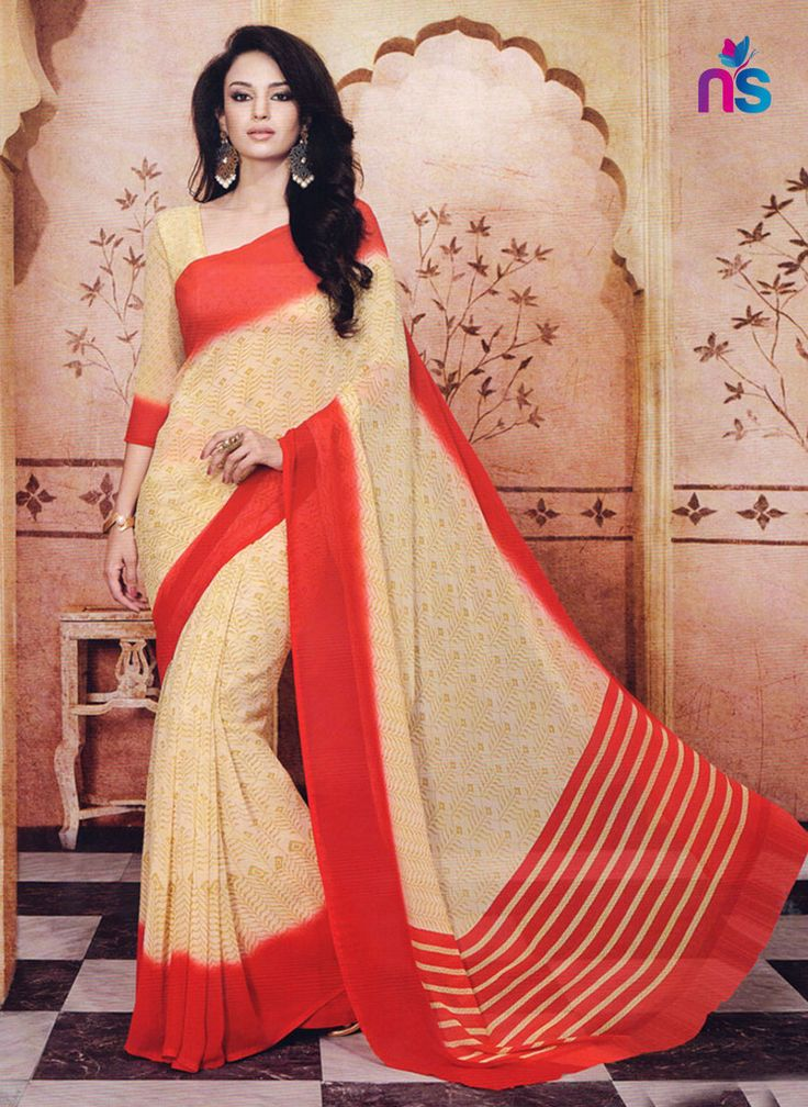 NS11203 Beige and Red Daily Wear Printed Cotton Saree