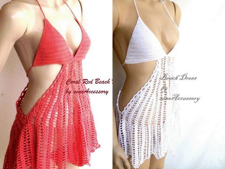 Coral red beach dress summer dress swimsuit bikini crochet lace dress beach dress beachwear mini summer dress swimwear women senoAccessory by senoAccessory on Etsy